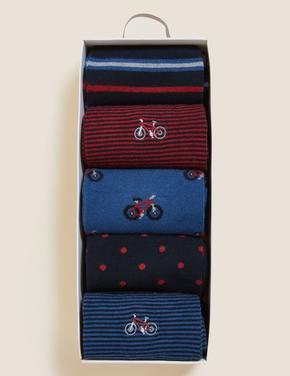 Erkek Mavi 5'li Grafik Desenli Çorap Seti