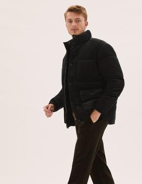 Erkek Siyah Saf Pamuklu Kadife Puffer Şişme Mont
