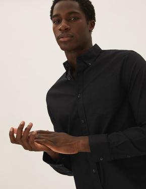 Erkek Siyah Saf Pamuklu Oxford Gömlek
