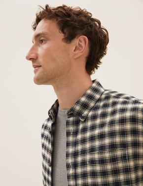 Erkek Lacivert Saf Pamuklu Kareli Oxford Gömlek