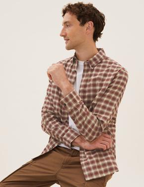 Erkek Turuncu Saf Pamuklu Kareli Oxford Gömlek