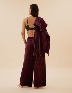 Kadın Bordo Flexifit™ Geniş Paça Kadife Pijama Altı