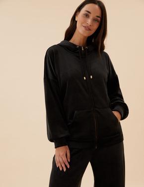 Kadın Siyah Flexifit™ Kadife Sweatshirt