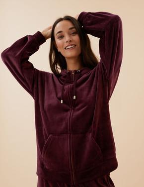 Kadın Bordo Flexifit™ Kadife Sweatshirt
