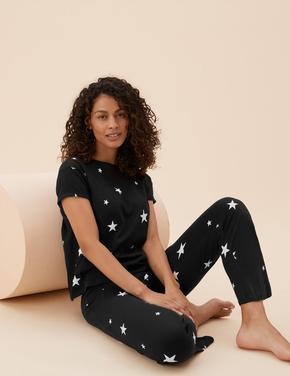 Kadın Siyah Saf Pamuklu Yıldız Desenli Pijama Takımı