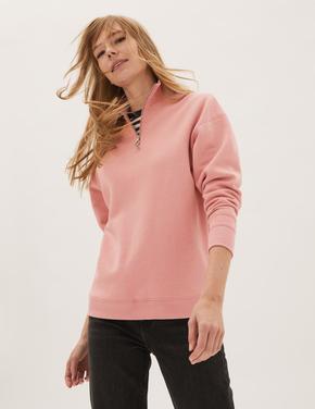 Kadın Pembe Relaxed Fit Yarım Fermuarlı Sweatshirt