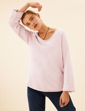 Kadın Pembe Saf Pamuklu V Yaka Sweatshirt