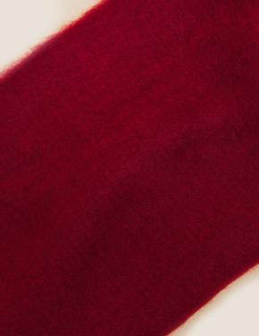 Kadın Kırmızı Örme Püsküllü Atkı