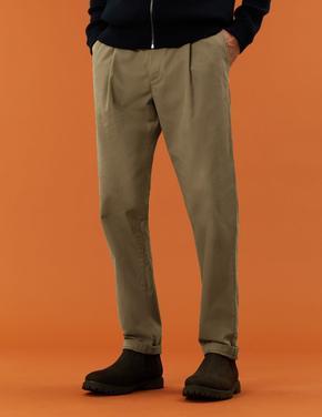 Erkek Kahverengi Saf Pamuklu Regular Fit Chino Pantolon