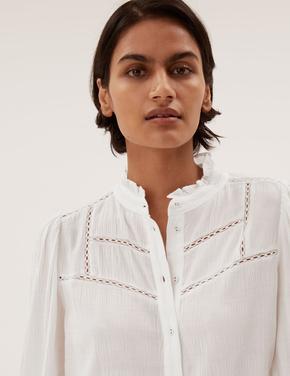 Kadın Krem İşleme Detaylı Uzun Kollu Bluz