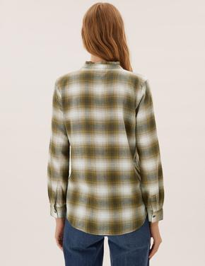 Kadın Yeşil Fırfır Detaylı Kareli Gömlek