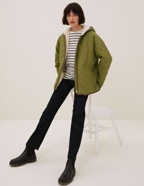 Kadın Yeşil Kapüşonlu Puffer Ceket