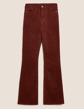 Kadın Turuncu Wide Leg Kadife Pantolon