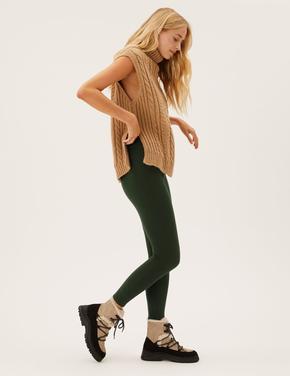 Kadın Yeşil Yüksek Bel Termal Legging Tayt
