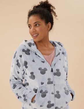 Kadın Gri Mickey™ Kapüşonlu Polar Sweatshirt