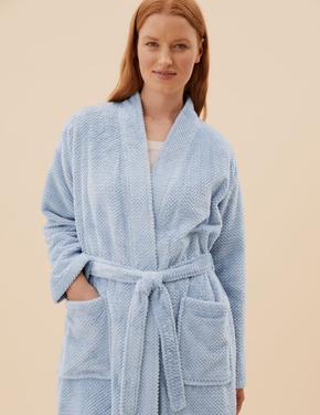 Kadın Mavi Cep Detaylı Polar Sabahlık
