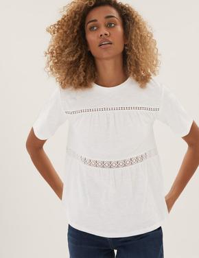 Kadın Krem Saf Pamuklu Dantel Detaylı T-Shirt