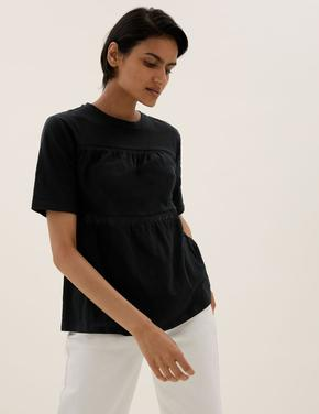 Kadın Siyah Saf Pamuklu Dantel Detaylı T-Shirt