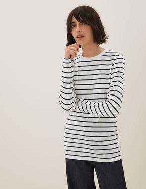 Kadın Siyah Saf Tencel™ Uzun Kollu T-Shirt