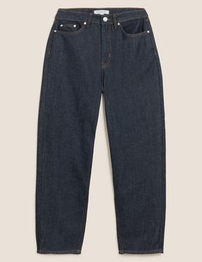 Kadın Lacivert Tencel™ Tapered Fit Jean Pantolon