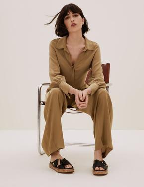 Kadın Kahverengi Relaxed Fit Popover Bluz