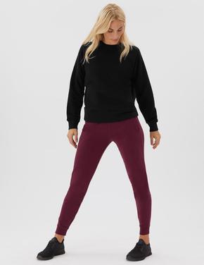 Kadın Siyah Yuvarlak Yaka Cep Detaylı Sweatshirt