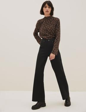 Kadın Siyah Wide Leg Jean Pantolon