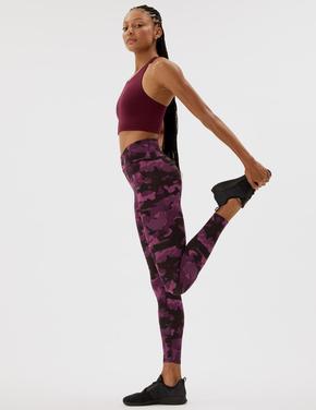 Kadın Bordo Kamuflaj Desenli Legging Tayt
