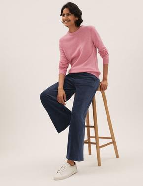 Kadın Lacivert Wide Leg Kadife Pantolon