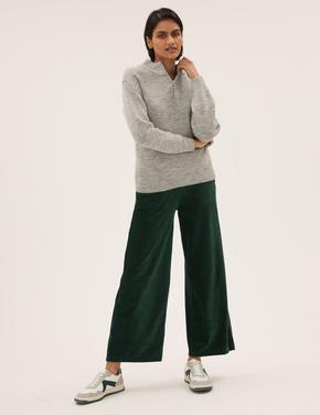 Kadın Yeşil Wide Leg Kadife Pantolon