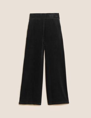 Kadın Siyah Wide Leg Kadife Pantolon