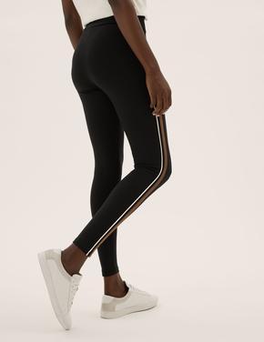 Kadın Siyah Şerit Detaylı Legging Tayt