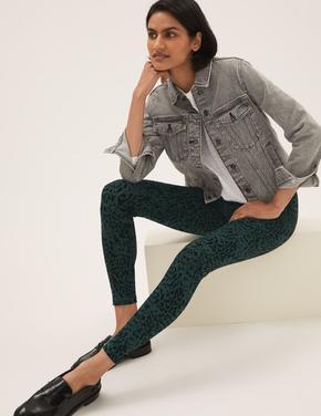 Kadın Yeşil Leopar Desenli Legging Tayt