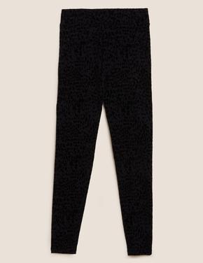 Kadın Siyah Leopar Desenli Legging Tayt