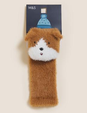 Kadın Kahverengi Köpek Desenli Cosy Çorap