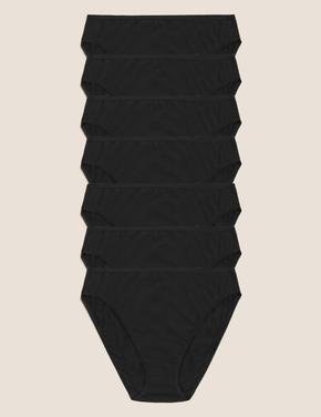 Kadın Siyah Saf Pamuklu 7'li High Leg Külot Seti