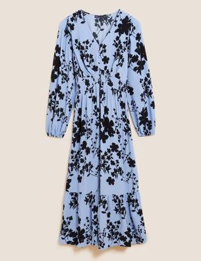 Kadın Mavi Uzun Kollu Midi Elbise