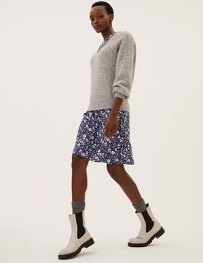 Kadın Mor Çiçek Desenli Mini Elbise
