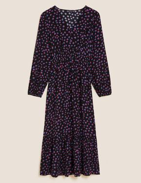 Kadın Siyah Uzun Kollu Midi Elbise