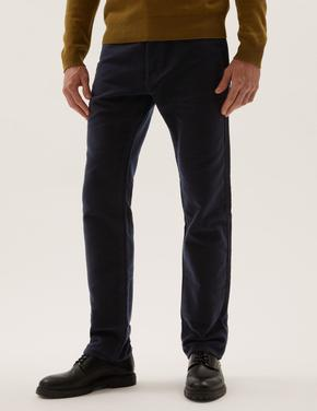 Erkek Lacivert Saf Pamuklu Regular Fit Moleskin Pantolon