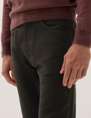 Erkek Yeşil Saf Pamuklu Regular Fit Moleskin Pantolon