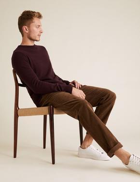 Erkek Kahverengi Regular Fit Kadife Pantolon