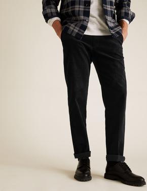 Erkek Lacivert Regular Fit Kadife Pantolon