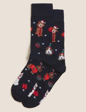 Erkek Lacivert Yılbaşı Temalı Cool & Fresh™ Çorap