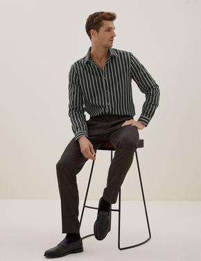 Erkek Siyah Saf Pamuklu Çizgili Gömlek