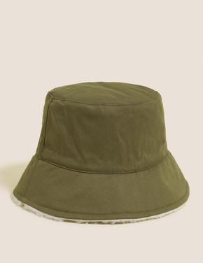 Kadın Krem Çift Taraflı Bucket Şapka