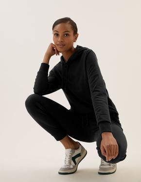 Kadın Siyah Uzun Kollu Kapüşonlu Sweatshirt