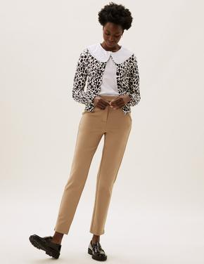 Kadın Kahverengi Slim Fit Ankle Grazer Pantolon