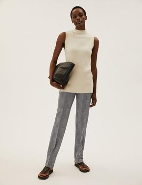 Kadın Siyah Kareli Straight Leg Pantolon