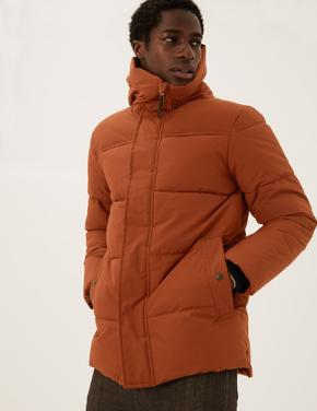 Erkek Kahverengi Thermowarmth™ Kapüşonlu Puffer Şişme Mont